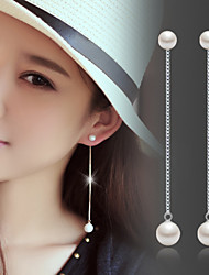 Lureme®  Korean Fashion 925  Sterling Silver Tassels Pearl Earrings