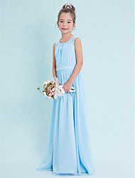cheap -Sheath / Column Scoop Neck Floor Length Chiffon Junior Bridesmaid Dress with Draping by LAN TING BRIDE®