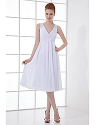 A-Line V-neck Knee Length Chiffon Bridesmaid Dress with Beading Buttons by LAN TING BRIDE®