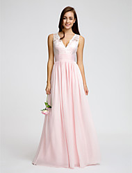 A-Line V-neck Floor Length Chiffon Bridesmaid Dress with Lace Sash / Ribbon Ruching by LAN TING BRIDE®