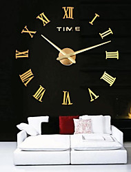 cheap -Oversized Metal Electroplate Home Decor DIY Round Wall Clock