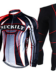 cheap -Nuckily Men's Long Sleeves Cycling Jersey with Tights - Red Geometic Bike Clothing Suits, Waterproof, Thermal / Warm, Reflective Strips