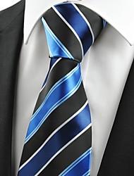 cheap -Classic Striped Blue Black JACQUARD Men's Tie Necktie Formal Business Gift #0001