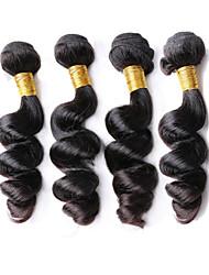 "4Bundles 200g 8""-26""Peruvian Virgin Hair Loose Wave Natural Black Raw Human Hair Weaves"