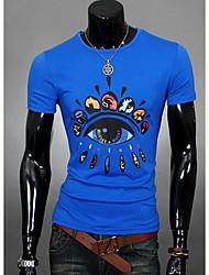 preiswerte -Herren T-shirt-Druck Freizeit Polyester Kurz-Blau / Orange / Rot / Weiß