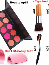 3in1 Makeup Set(10 Colors Blush Blusher Powder Makeup Cosmetic Palette Showy Color+1 Blush Brush+1 Brush Egg)