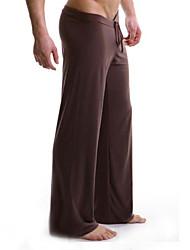 Pantaloni della tuta Uomo Casual Tinta unita Cotone / Nylon Nero / Marrone / Bianco / Grigio