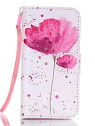 lotus mønster magnetisk læder stå beskyttende tilfældet med lanyard for iphone SE / 5 / 5s
