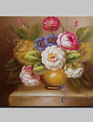 Mini tamanho pintado à mão pintura de óleo de flor clássico em tela com moldura para decoração de casa de sala de estar