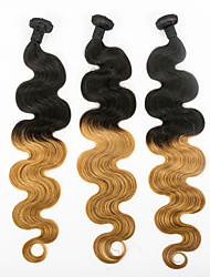 cheap -Indian Hair Body Wave Ombre Hair Weaves 3 Bundles Human Hair Weaves Black / Strawberry Blonde Human Hair Extensions