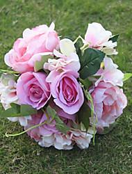 cheap -1 Branch Silk Roses Hydrangeas Peonies Tabletop Flower Artificial Flowers