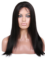 Недорогие -Натуральные волосы Бесклеевая кружевная лента Лента спереди Парик стиль Бразильские волосы Прямой Яки Парик 130% 150% Плотность волос 8-24 дюймовый / Природные волосы / 100% ручная работа