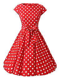 cheap -Women's Going out Vintage Cotton A Line Dress - Polka Dot Red, Print Boat Neck
