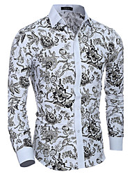 Men's Casual/Daily Simple Spring Fall Shirt,Print Long Sleeves Cotton