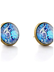 Lureme® Vintage Jewelry Time Gem Series Fluorescent Color Flowers with Musical Note Disc Stud Earrings for Women