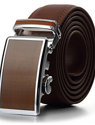 cheap -Men's Fashion Genuine Leather Ratchet Belt Business Brown Belts