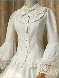 cheap -Sweet Lolita Dress Lace / Cotton Women's Blouse / Shirt Cosplay White (iPhone4) Long Sleeve Medium Length