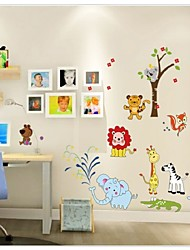 cheap -Cartoon Jungle Wild Animal Wall Stickers For Kids Rooms Home Decor Lion Giraffe Elephant Birds Living Room Decals