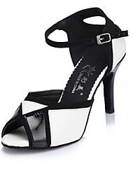 abordables -Femme Chaussures Latines Similicuir Sandale / Talon Intérieur Boucle Talon Personnalisé Personnalisables Chaussures de danse Noir et blanc