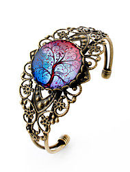 Lureme® Vintage Jewelry Time Gem Series Colorful Tree of Life Antique Bronze Hollow Flower Open Bangle Bracelet Women Christmas Gifts