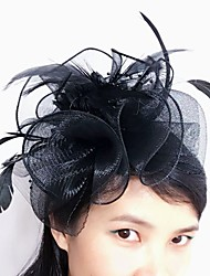 cheap -Tulle / Feather / Net Fascinators / Headwear with Floral 1pc Wedding / Special Occasion Headpiece