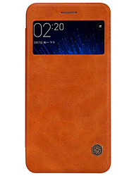 cheap -For Mi Case with Windows / Flip Case Back Cover Case Solid Color Hard Genuine Leather Xiaomi