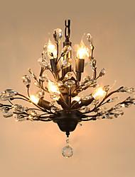 Vintage Crystal Flush Mount/E12/E14 8Lights/Metal Painting/ Living Room / Bedroom / Black OR Gold