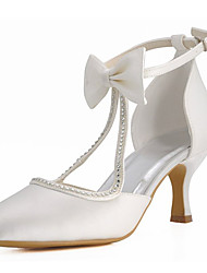 Womens Wedding Shoes Heels Round Toe Party Evening Dress Ivory