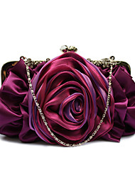 Women Bags Polyester Chiffon Evening Bag Ruffles Flower for Wedding Event/Party Casual Formal Office & Career All Seasons Gray Purple Red