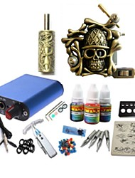 cheap -Tattoo Machine Starter Kit 1 alloy machine liner & shader High Quality Mini power supply 1 x aluminum grip pcs Tattoo Needles Classic