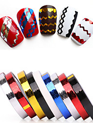 cheap -Rolls Stripping Tape Waves Line Strips Decor Decals Wraps Tools Gold Silver Nail Art Sticker Roll Beauty