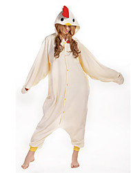 kigurumi Pyjamas New Cosplay® Poulet Collant/Combinaison Fête / Célébration Pyjamas Animale Halloween Beige Couleur Pleine Polaire