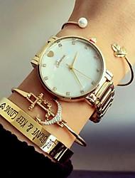 baratos -Mulheres Bracele Relógio Venda imperdível Aço Inoxidável Banda Luxo / Heart Shape / Fashion Prata / Dourada / Ouro Rose / Um ano / KC 377A
