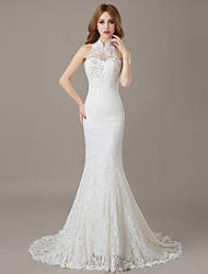 cheap -Mermaid / Trumpet Halter Court Train Lace Wedding Dress with Crystal Beading Appliques Lace by LAN TING BRIDE®