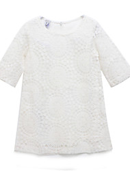 cheap -Girls' Dress, Cotton Spring Summer Long Sleeves Lace White