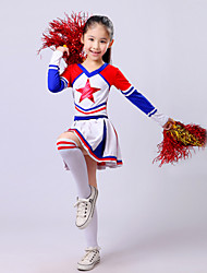 cheap -Cheerleader Costumes Outfits Children's Performance Polyester Ruffles Long Sleeves High Top Skirt