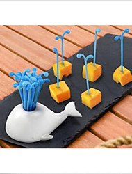 Недорогие -Новинка портативный фрукты кит торт салат вилки кухня