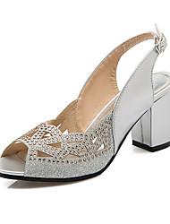 preiswerte -Damen Schuhe Lackleder Glanz Sommer Blockabsatz Block Ferse Glitter Schnalle Kombination Für Kleid Party & Festivität Schwarz Silber Rot