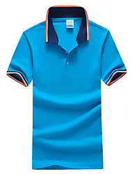 Men's Fashion Casual Patchwork Lapel Short-Sleeve Polos, Cotton/Polyester