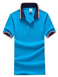 Недорогие -Муж. Спорт Классический Большие размеры - Polo Хлопок, Рубашечный воротник Тонкие Контрастных цветов / С короткими рукавами