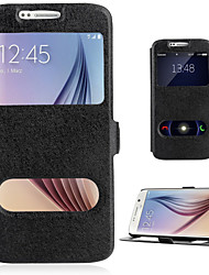 For Samsung Galaxy Case with Stand / with Windows / Flip Case Full Body Case Solid Color PU Leather for SamsungJ7 (2016) / J7 Prime / J7