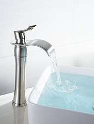 Contemporary Vessel Waterfall Ceramic Valve One Hole Single Handle One Hole Nickel Brushed , Bathroom Sink Faucet