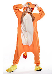 cheap -Kigurumi Pajamas Dragon Onesie Pajamas Costume Polar Fleece Orange Cosplay For Adults' Animal Sleepwear Cartoon Halloween Festival /