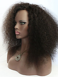 cheap -Human Hair Full Lace Lace Front Wig Kinky Curly Afro 130% 150% Density 100% Hand Tied African American Wig Natural Hairline Short Medium