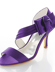 cheap -Women's Shoes Stretch Satin Spring Summer Stiletto Heel Satin Flower for Wedding Party & Evening Dress Purple