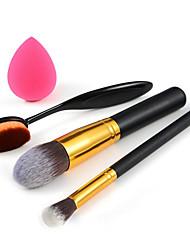 Make-up Zahnbürste + Foundation-Pinsel + Lidschattenpinsel + kleine Stiftung puff