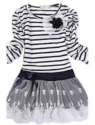 Girl's Striped Patchwork Dress,Cotton Spring Fall Long Sleeve
