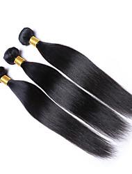 Недорогие -Натуральные волосы Перуанские волосы Человека ткет Волосы Прямые Наращивание волос 1 шт. Черный Естественный цвет