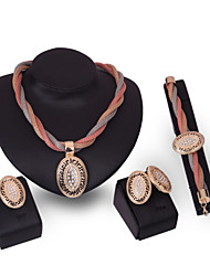 Jewelry Set Alloy Punk Gold Wedding Party Daily 1set 1 Necklace 1 Pair of Earrings 1 Bracelet Rings Wedding Gifts