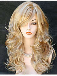 cheap -Synthetic Wig Curly Wavy With Bangs Side Part Blonde Women's Capless Natural Wigs Long Synthetic Hair